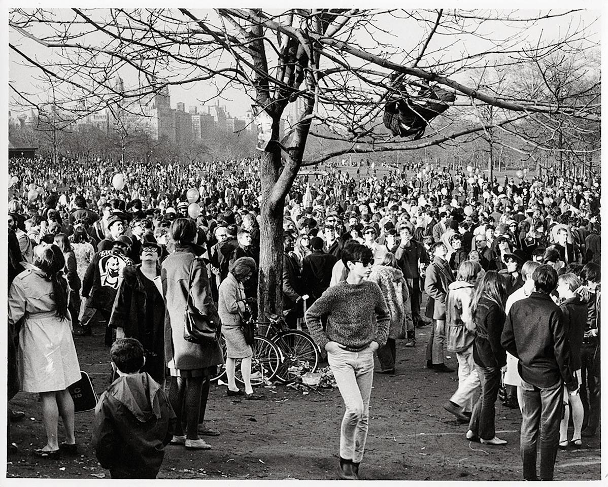 """Central Park """"Be-In."""" March 26, 1967. Photograph by Frederick Kelly."""
