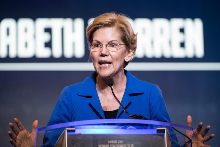 Democratic presidential candidate Sen. Elizabeth Warren addresses the crowd at the 2019 South Carolina Democratic Party State Convention. (Photo: Sean Rayford/Getty Images)