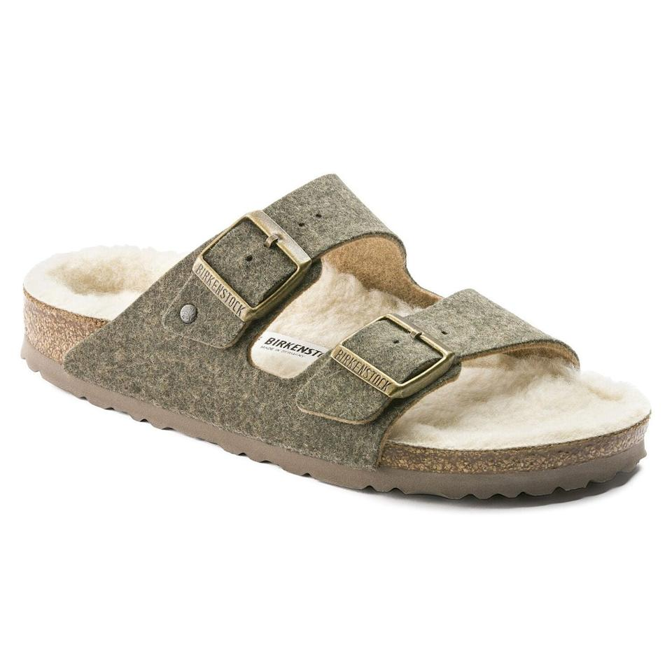 "<br><br><strong>Birkenstock</strong> Arizona Wool Felt, $, available at <a href=""https://go.skimresources.com/?id=30283X879131&url=https%3A%2F%2Fwww.birkenstock.com%2Fus%2Farizona-wool-felt%2Farizona-doubleface-woolfelt-0-eva-u_692.html%3Fgclid%3DCjwKCAjw0On8BRAgEiwAincsHLfEdGdboEMOOGWu2qq39VY1YtknCfeTVHlMH1rUpMllqUTXbPNGahoCOGMQAvD_BwE"" rel=""nofollow noopener"" target=""_blank"" data-ylk=""slk:Birkenstock"" class=""link rapid-noclick-resp"">Birkenstock</a>"