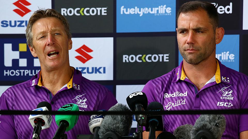 Melbourne Storm coach Craig Bellamy will present Cameron Smith and the rest of the players with their premiership rings on Sunday night, should the Storm defeat Penrith. (Photo by Jono Searle/Getty Images)