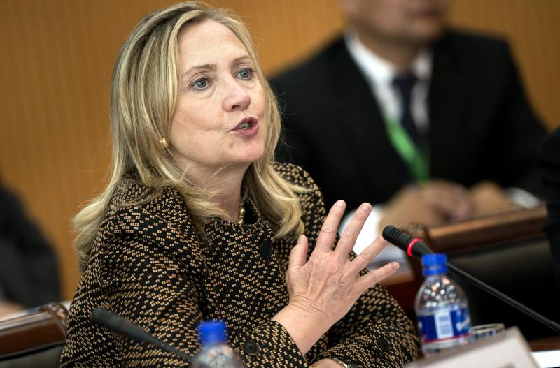 U.S. Secretary of State Hillary Rodham Clinton delivers opening remarks to the Community of Democracies Governing Council at the Ministry of Foreign Affairs Monday, July 9, 2012 in Ulan Bator, Mongolia. (AP Photo/Brendan Smialowski, Pool)