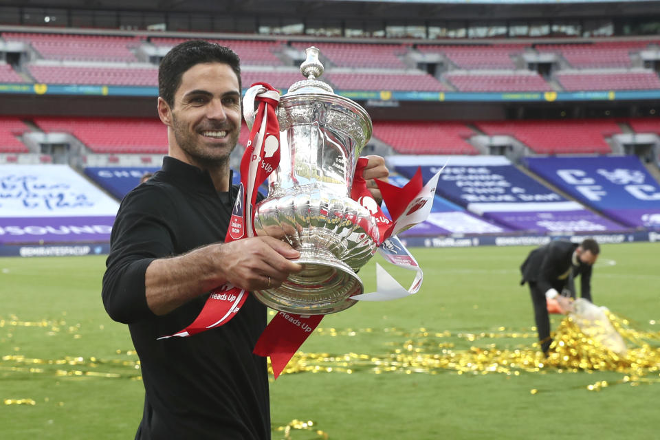 Mikel Arteta's first nine months or so in charge of Arsenal have been pretty promising. (Catherine Ivill/Pool via AP)