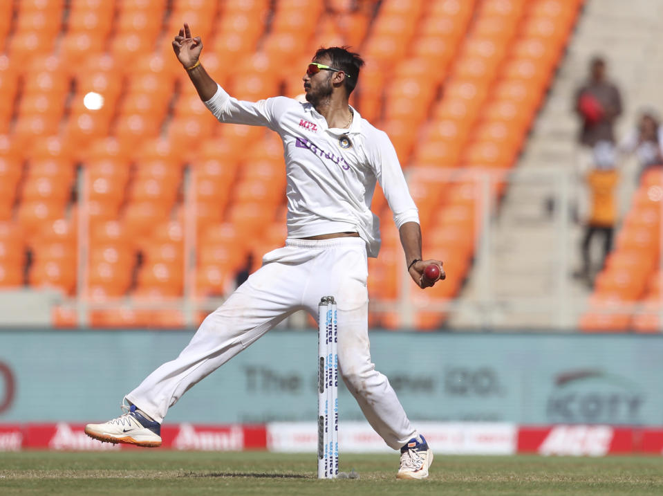 India's Axar Patel bowls during the third day of fourth cricket test match between India and England at Narendra Modi Stadium in Ahmedabad, India, Saturday, March 6, 2021. (AP Photo/Aijaz Rahi)