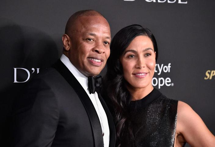 Dr. Dre (L) and Nicole Young attend the City of Hope Spirit of Life Gala 2018 at Barker Hangar on October 11, 2018 in Santa Monica, California. (Photo by Frazer Harrison/Getty Images)