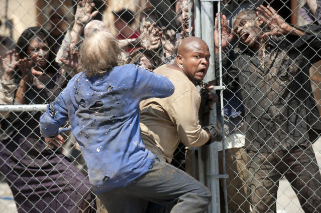 "T-Dog (Robert 'IronE' Singleton) and walkers in ""The Walking Dead"" episode, ""Killer Within."""