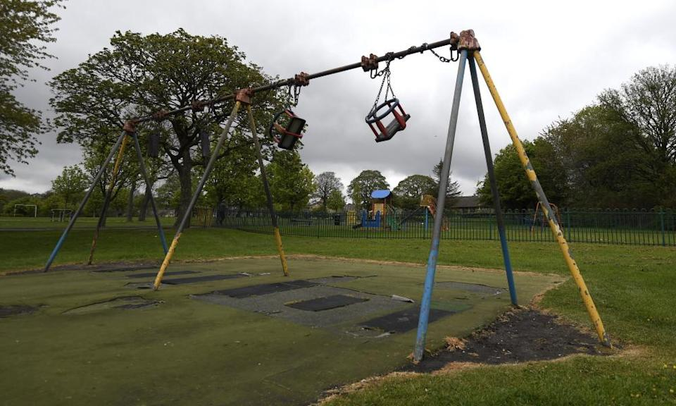 An empty children's playground in Peel Park on April 30, 2020 in Bradford, England.