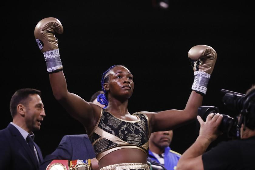 Claressa Shields stands for her introduction for her 154-pound title fight with Ivana Habazin on Jan. 10, 2020.