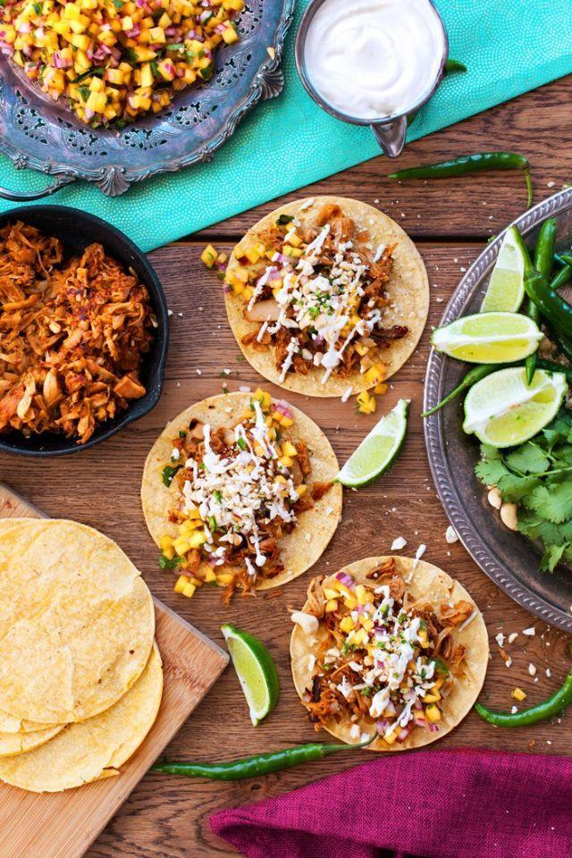 """<p>Ditch fatty pulled pork for these <a href=""""http://www.drozthegoodlife.com/healthy-food-nutrition/healthy-recipe-ideas/tips/g375/healthy-taco-recipes/"""" rel=""""nofollow noopener"""" target=""""_blank"""" data-ylk=""""slk:vegan carnitas"""" class=""""link rapid-noclick-resp"""">vegan carnitas</a>. With a spicy mango salsa topping, they won't disappoint.</p><p>Grab the recipe from <a href=""""http://www.theedgyveg.com/2015/04/20/jackfruit-carnitas-pulled-pork-tacos/"""" rel=""""nofollow noopener"""" target=""""_blank"""" data-ylk=""""slk:The Edgy Veg"""" class=""""link rapid-noclick-resp"""">The Edgy Veg</a>.</p>"""