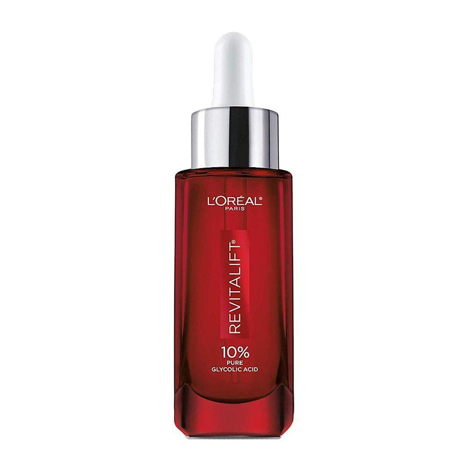 """<p><strong>L'Oréal Paris</strong></p><p>amazon.com</p><p><strong>$19.54</strong></p><p><a href=""""https://www.amazon.com/dp/B07TVMFM5C?tag=syn-yahoo-20&ascsubtag=%5Bartid%7C2089.g.22530244%5Bsrc%7Cyahoo-us"""" rel=""""nofollow noopener"""" target=""""_blank"""" data-ylk=""""slk:Shop Now"""" class=""""link rapid-noclick-resp"""">Shop Now</a></p><p>While some glycolic acid products are too harsh for sensitive skin, this L'Oréal serum is designed with a dual resurfacing and soothing effect that allows you to use it nightly without irritation. </p><p>It also helps dissolve dead skin cells for an instantly smoother texture, and it helps to visibly reduces dark spots and wrinkles. You'll want to layer it on after cleansing your face, but before adding a moisturizer. And always apply SPF in the morning to protect your exfoliated skin from the sun.</p>"""