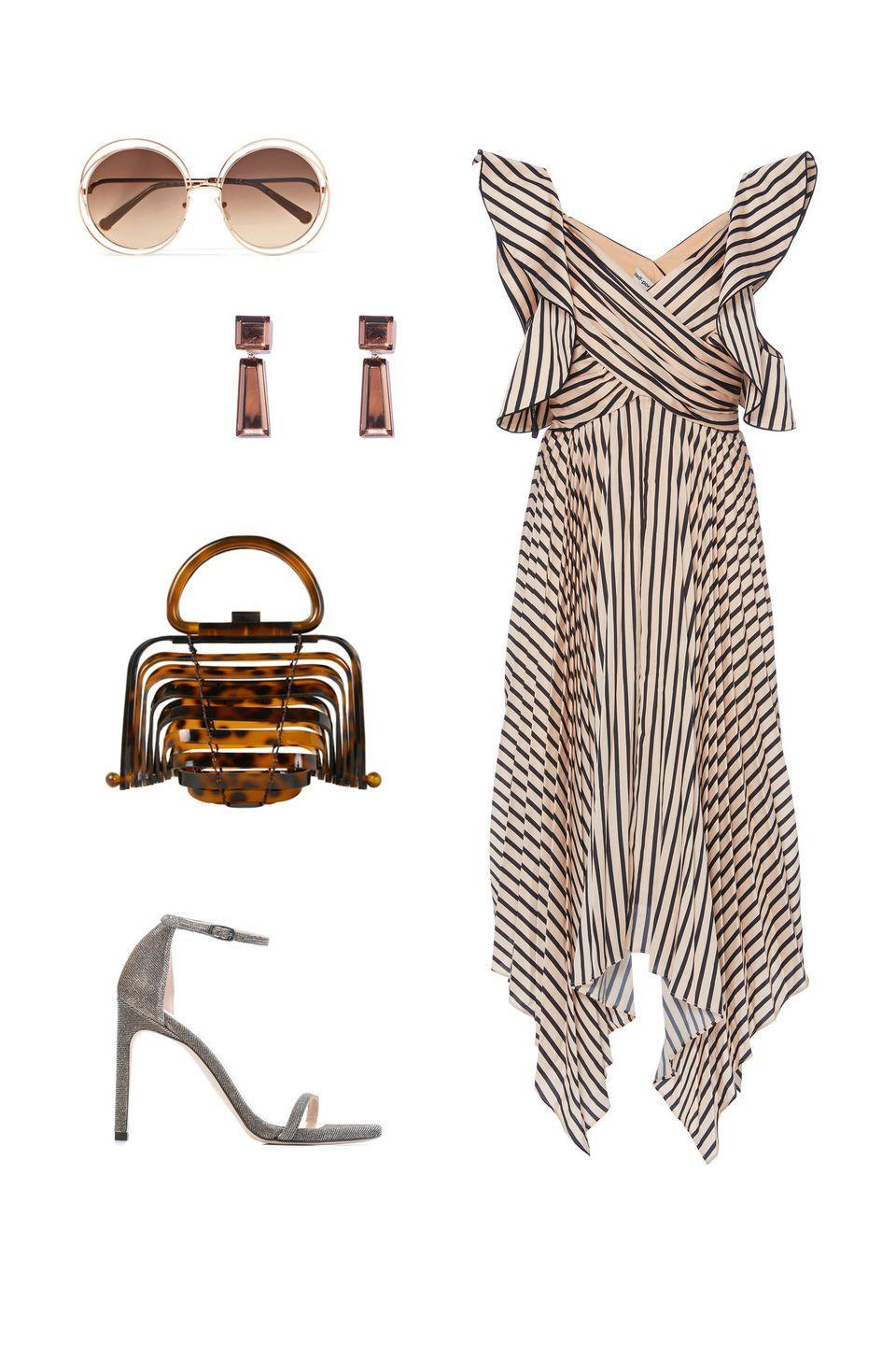 """<p>As the seasons change, expect to be invited to countless events outdoors. From vineyards to backyards, a neutral color palette of bronze and tan will look chic with a laid-back vibe. </p><p><em><strong>Self Portrait</strong> dress, $440,<a rel=""""nofollow noopener"""" href=""""https://www.modaoperandi.com/self-portrait-pf18/asymmetric-stripe-midi-dress"""" target=""""_blank"""" data-ylk=""""slk:modaoperandi.com"""" class=""""link rapid-noclick-resp"""">modaoperandi.com</a>; <strong>Stuart Weitzman</strong> sandals, $460,<a rel=""""nofollow noopener"""" href=""""https://www.mytheresa.com/en-de/stuart-weitzman-nudistsong-metallic-sandals-899373.html"""" target=""""_blank"""" data-ylk=""""slk:mytheresa.com"""" class=""""link rapid-noclick-resp"""">mytheresa.com</a>; <strong>Cult Gaia</strong> clutch, $330, <a rel=""""nofollow noopener"""" href=""""https://www.themodist.com/en/accessories/bags/lilleth-tortoiseshell-acrylic-top-handle-bag/137221207.html?cgid=accessories-bags"""" target=""""_blank"""" data-ylk=""""slk:themodist.com"""" class=""""link rapid-noclick-resp"""">themodist.com</a>; <strong>Rachel Comey</strong> earrings, $125, <a rel=""""nofollow noopener"""" href=""""https://shop.harpersbazaar.com/designers/rachel-comey/beam-earrings-in-russet-27390.html"""" target=""""_blank"""" data-ylk=""""slk:shopBAZAAR.com"""" class=""""link rapid-noclick-resp"""">shopBAZAAR.com</a>; <strong>Chloé</strong> sunglasses, $400,<a rel=""""nofollow noopener"""" href=""""https://www.net-a-porter.com/us/en/product/1091425/chloe/carlina-round-frame-rose-gold-tone-sunglasses"""" target=""""_blank"""" data-ylk=""""slk:netaporter.com"""" class=""""link rapid-noclick-resp"""">netaporter.com</a>.</em></p>"""