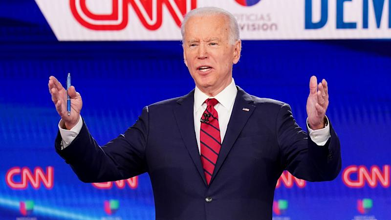 Former Vice President Joe Biden speaks during the 11th Democratic candidates debate in Washington, DC, March 15, 2020. (Kevin Lamarque/Reuters)