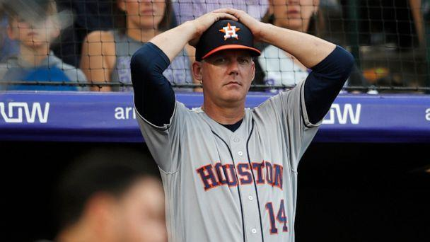 PHOTO: Houston Astros manager AJ Hinch reacts during a baseball game against the Colorado Rockies, in Denver, July 19, 2019. (David Zalubowski/AP, FILE)