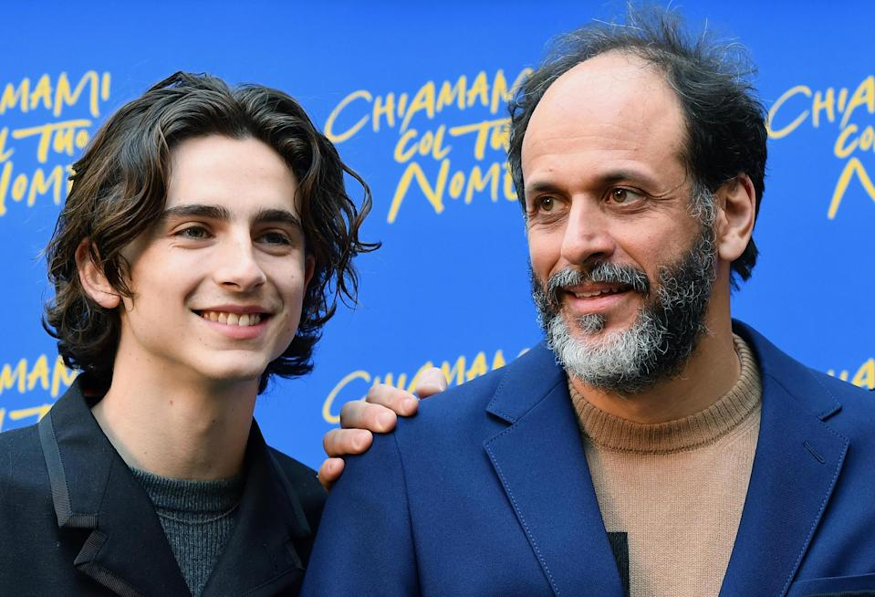 Italian director Luca Guadagnino, right, and his Call Me By Your Name star Timothee Chalamet (Ettore Ferrari/ANSA via AP)