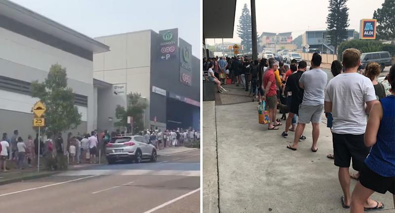 Long queues outside Ulladulla Woolworths as people wait to stock up on supplies on Wednesday.