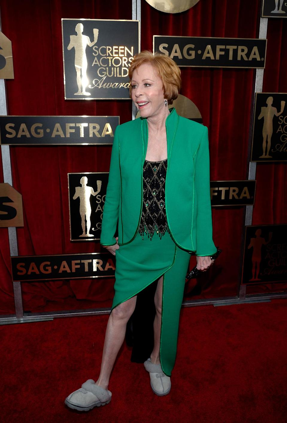 <p>Because Carol Burnett is 82 and she can do whatever she wants, the Lifetime Achievement Award winner wore UGG slippers on the red carpet for her big night. </p>