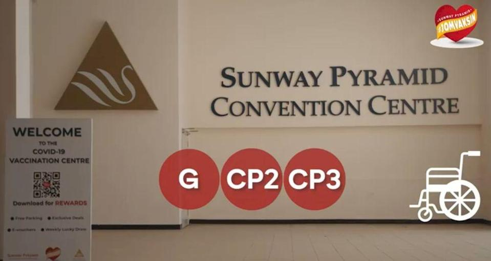 Sunway Pyramid Convention Centre will host the vaccination of 1.8 million living in Petaling Jaya, Shah Alam and Subang Jaya. — Screengrab via Facebook/SunwayPyramid