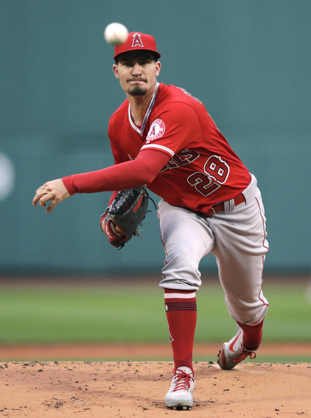 Los Angeles Angels starting pitcher Andrew Heaney delivers during the first inning of the team's baseball game against the Boston Red Sox at Fenway Park in Boston, Wednesday, June 27, 2018. (AP Photo/Charles Krupa)