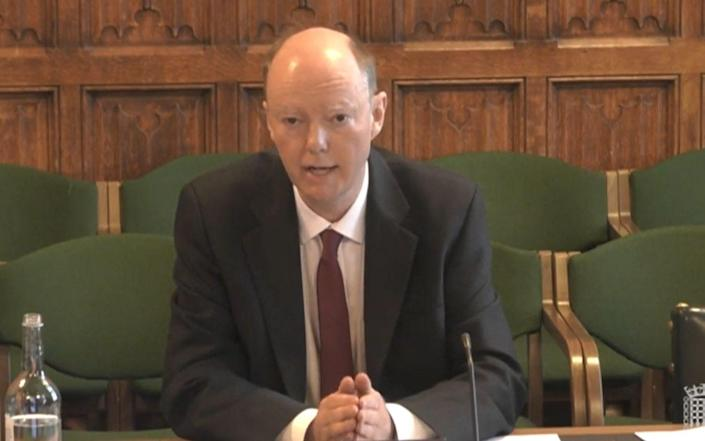 Prof Chris Whitty told MPs that vaccines could reduce the risk by at least 50 per cent - PA Wire