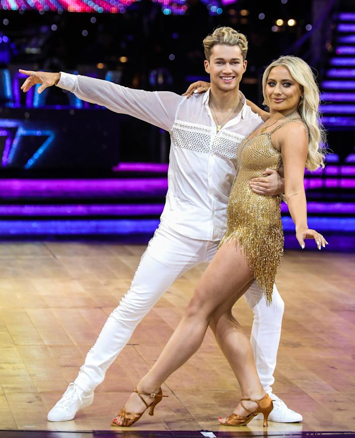 AJ Pritchard and Saffron Barker attending a Photocall ahead of the first night of the Strictly Come Dancing Live Tour 2020 at Arena Birmingham. (Brett Cove / Echoes Wire/ Barcroft Media via Getty Images)