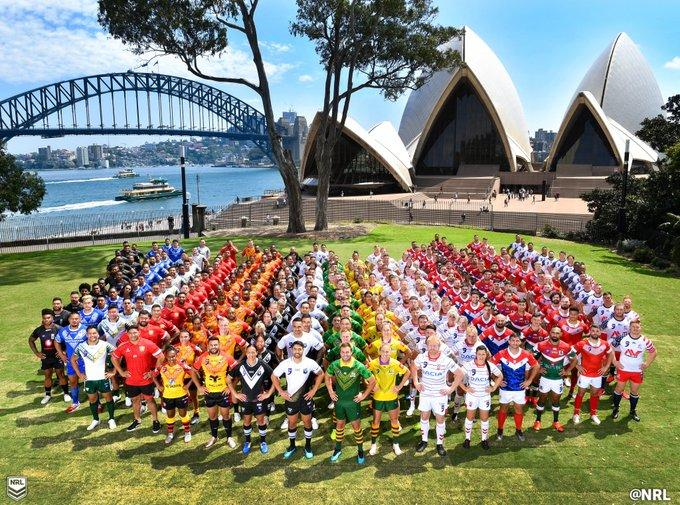 The teams line up for the 2019 World Cup Nines
