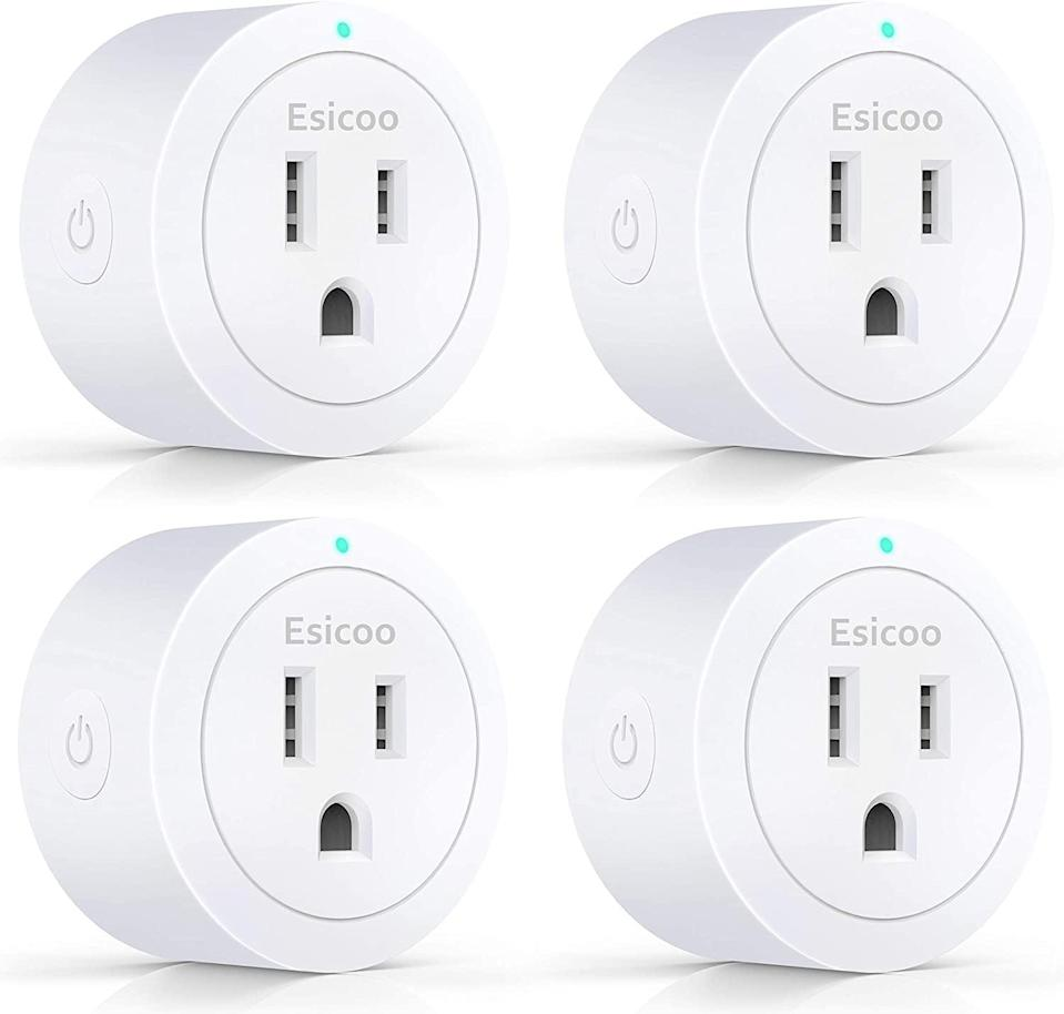 <p>The <span>Esicoo Smart Plug 4 Pack</span> ($26) is energy efficient and can turn electronics on or off with a timer.</p>