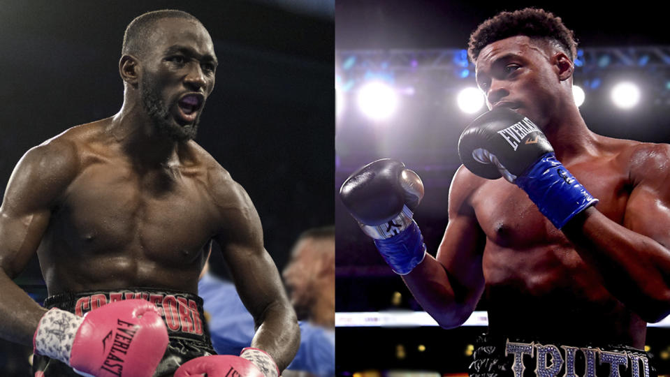 WBO welterweight champion Terence Crawford and IBF-WBC welterweight champion Errol Spence Jr. traded verbal jabs on social media Sunday. (Getty)