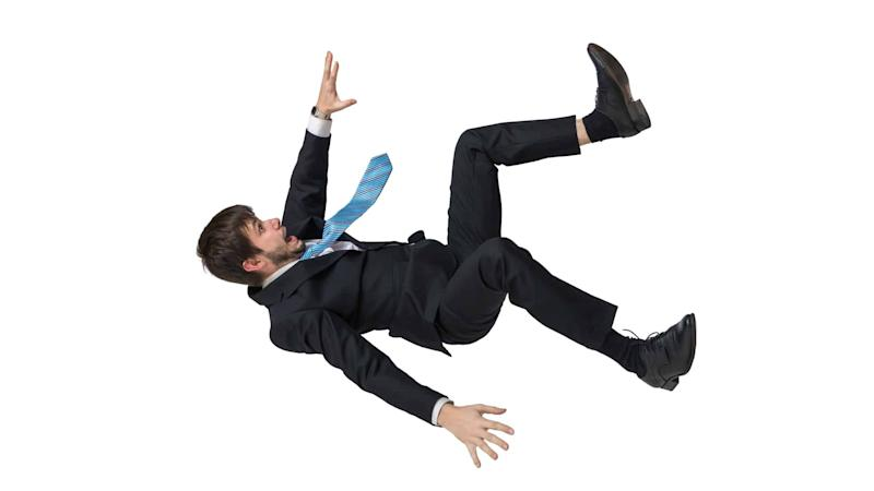 businessman in free fall