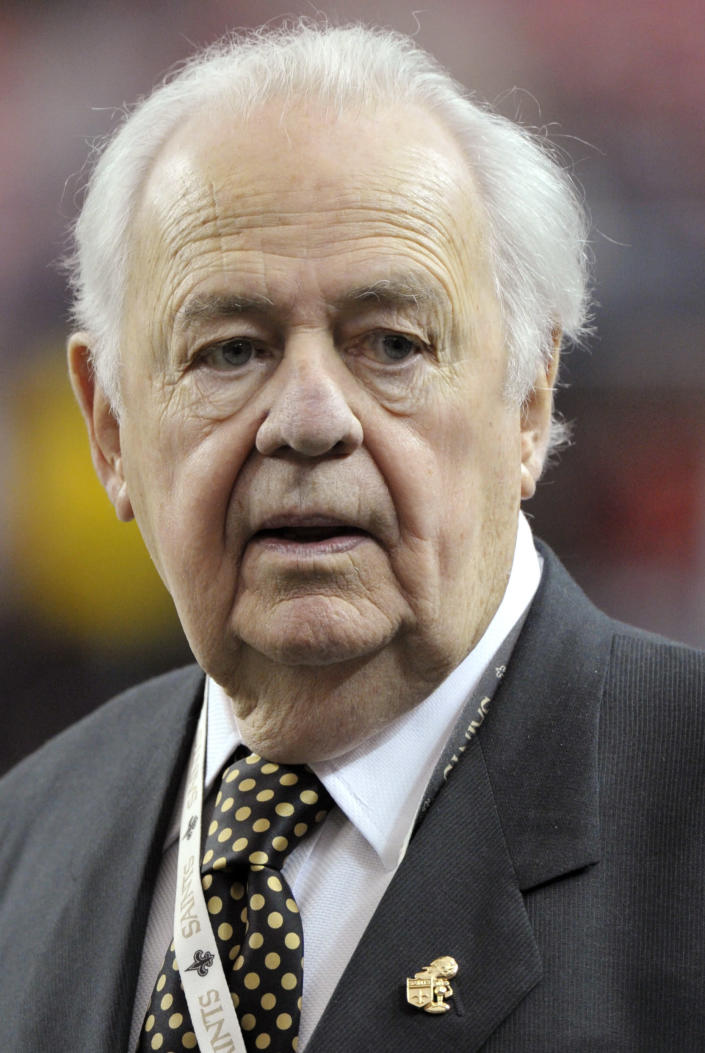 FILE - In this Nov. 13, 2011, file photo, New Orleans Saints owner Tom Benson looks on before the first half of an NFL football game between Saints and the Atlanta Falcons in Atlanta. The NFL has suspended Saints head coach Sean Payton for the 2012 season, and former Saints defensive coordinator Gregg Williams is banned from the league indefinitely because of the team's bounty program that targeted opposing players. Also Wednesday, March 21, 2012, Goodell suspended Saints general manager Mickey Loomis for the first eight regular-season games of 2012, and assistant coach Joe Vitt has to sit out the first six games. (AP Photo/Rich Addicks, File)