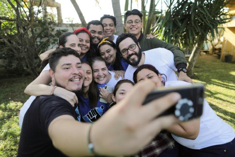 """Jesus Tefel and Olama Hurtado take a selfie with members of the Nicaraguan Civic Alliance after their release from """"El Chipote"""" prison, where they were held for delivering water to hunger-striking mothers of political prisoners"""