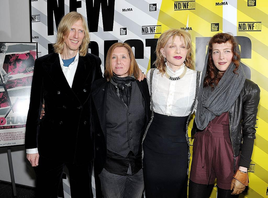 """Courtney Love quashed rumors of a Hole reunion when the core band reunited for the first time in 13 years to support drummer Patty Schemel (second from left) at a screening of her documentary, """"Hit So Hard,"""" in NYC. """"We haven't really discussed [a reunion] between each other much,"""" Schemel told the crowd, adding, """"I'm not against it ... There's been little rumblings,"""" to which Love quickly replied, """"Rumblings! There's no rumblings. You're making a rumbling."""" Michael Loccisano/<a href=""""http://www.gettyimages.com/"""" target=""""new"""">GettyImages.com</a> - March 28, 2011"""