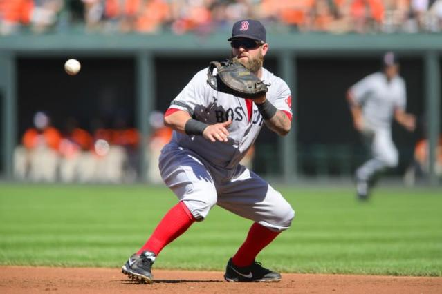 Boston Red Sox first baseman Napoli fields a ground ball off the bat of Baltimore Orioles batter Clevenger during the second inning of their MLB American League baseball game in Baltimore