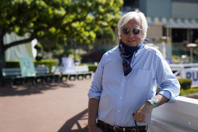 Bob Baffert was suspended for 15 days after two horses tested positive for lidocaine. (AP Photo/Ashley Landis)