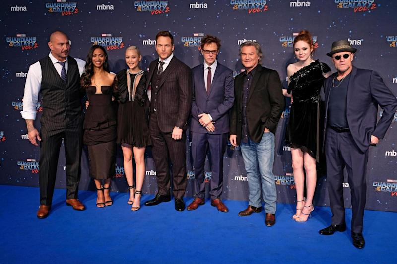Screening: (L-R) David Bautista, Zoe Saldana, Pom Klementieff, Chris Pratt, James Gunn, Kurt Russell, Karen Gillan and Michael Rooker (Dave Benett)