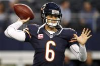 Chicago Bears quarterback Jay Cutler (6) warms up before an NFL football game against the Dallas Cowboys, Monday, Oct. 1, 2012, in Arlington, Texas. (AP Photo/Tony Gutierrez)