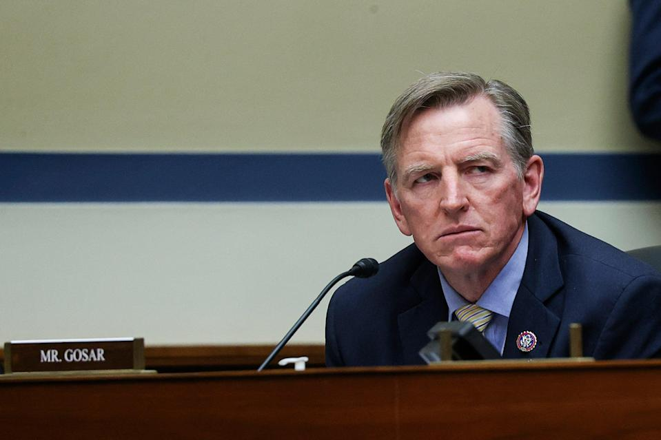 Rep. Paul Gosar (R-AZ) attends a House Oversight and Reform Committee hearing titled The Capitol Insurrection: Unexplained Delays and Unanswered Questions, regarding the January 6 attack on the US Capitol, in Washington, DC, on May 12, 2021.  (POOL/AFP via Getty Images)