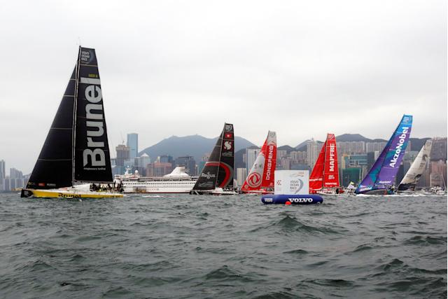 Sailing - Volvo Ocean Race - In-Port Race - Hong Kong, China - January 27, 2018. Team Brunel, Sun Hung Kai/Scallywag, Dongfeng Race Team, MAPFRE, Team AkzoNobel and Turn the Tide on Plastic sail. REUTERS/Bobby Yip
