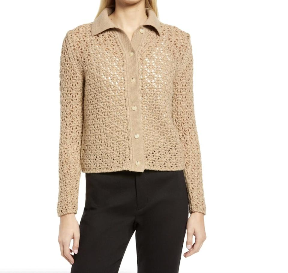 <p>Vince makes elevated and durable basics that will earn a permanent spot in your closet, and this <span>Vince Wool &amp; Cashmere Open Stitch Cardigan</span> ($375) is no exception. The refined stitched design gives it visual interest.</p>