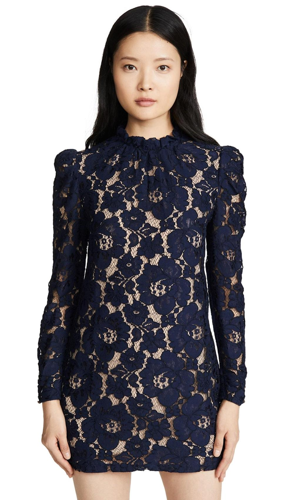 """A little lace, a lot to love: This versatile mini dress will earn a prime spot in your cold-weather rotation for date nights and other special occasions, thanks to its easy-to-style silhouette and neutral color. $69, Shopbop. <a href=""""https://www.shopbop.com/emma-puff-sleeve-dress-wayf/vp/v=1/1560675561.htm"""" rel=""""nofollow noopener"""" target=""""_blank"""" data-ylk=""""slk:Get it now!"""" class=""""link rapid-noclick-resp"""">Get it now!</a>"""