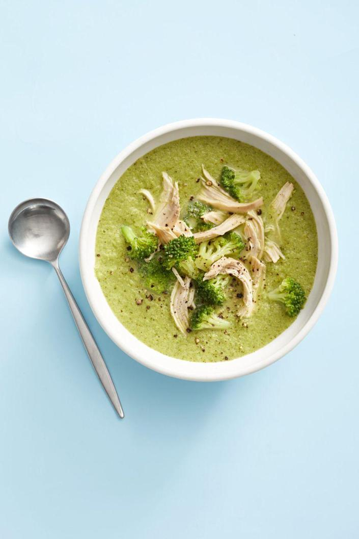 """<p>An added punch of protein (and a new texture!) to this creamy broccoli soup base is exactly the riff you were searching for.</p><p><a href=""""https://www.goodhousekeeping.com/food-recipes/easy/a25337154/broccoli-parmesan-chicken-soup-recipe/"""" rel=""""nofollow noopener"""" target=""""_blank"""" data-ylk=""""slk:Get the recipe for Broccoli-Parmesan Chicken Soup »"""" class=""""link rapid-noclick-resp""""><em>Get the recipe for Broccoli-Parmesan Chicken Soup »</em></a><br></p>"""