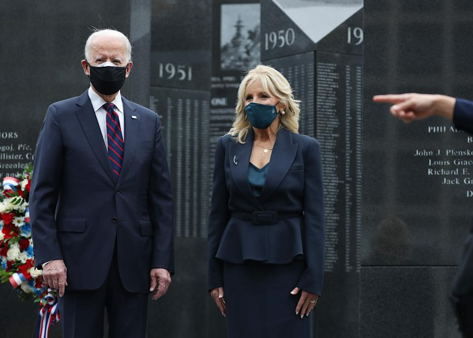 President-elect Joe Biden and Dr. Jill Biden honor military veterans with a stop at the Philadelphia Korean War Memorial at Penn's Landing on Veterans Day on November 10, 2020 in Philadelphia, Pennsylvania. Mr. Biden continues the process of the presidential transition as President Donald Trump continues to contest the election.