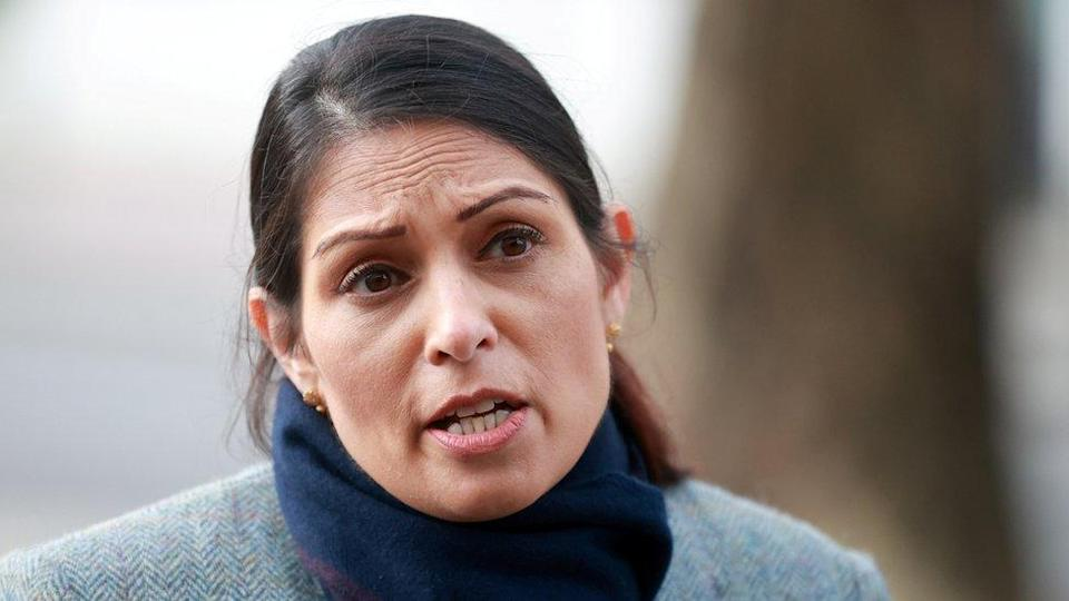 A file photo of Priti Patel speaking outdoors in January 2021