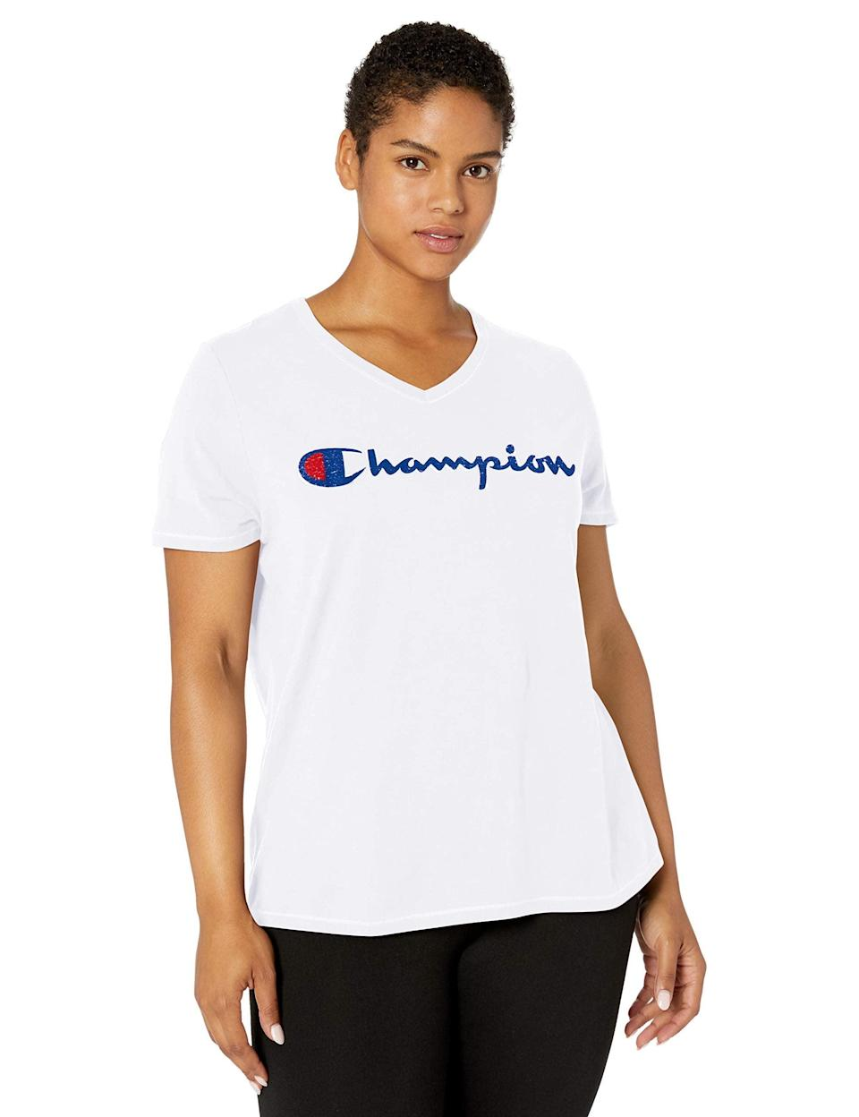 "<br> <br> <br><br><br><strong>Champion</strong> Plus Size Double Dry Cotton V-Neck Tee, $, available at <a href=""https://amzn.to/3iUKdPi"" rel=""nofollow noopener"" target=""_blank"" data-ylk=""slk:Amazon Fashion"" class=""link rapid-noclick-resp"">Amazon Fashion</a>"