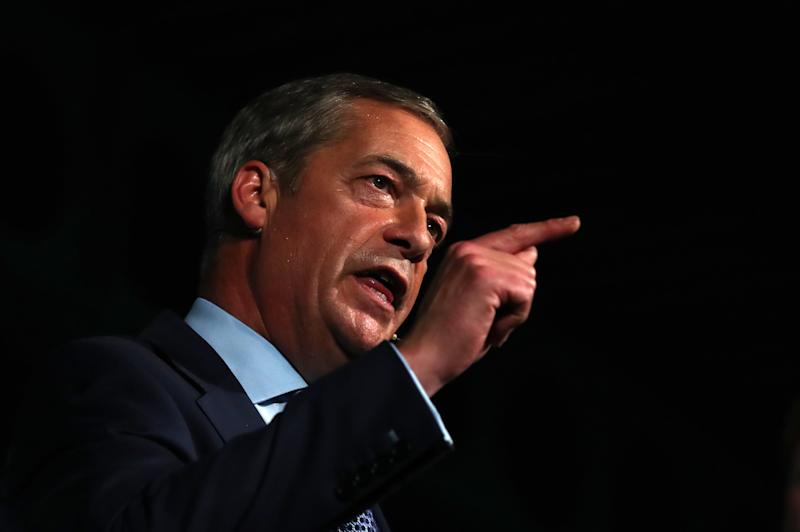 Brexit Party leader Nigel Farage speaks at a Brexit Party rally conference at Maidstone Exhibition Hall, Maidstone.