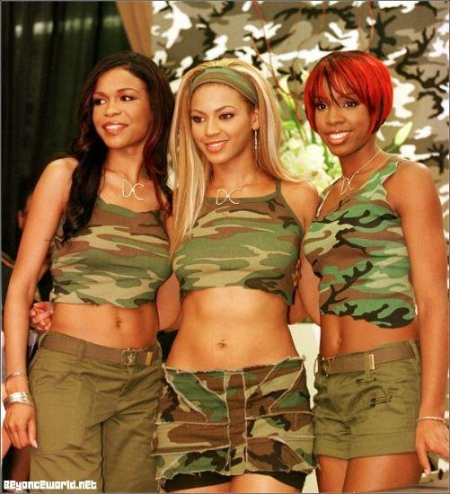"<p>Back in the day, Beyoncé and her Destiny's Child bandmates wore coordinating outfits for performances, red carpet appearances, and in music videos. They often picked a theme, like the camouflage ensembles they wore for the ""Survivor"" music video and subsequent album signings. These camouflage print outfits sent the obvious message that these ladies were prepared to take on anything.</p>"
