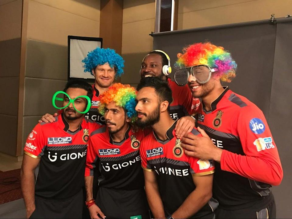 Tymal Mills in action behind the scenes at a Royal Challengers Bangalore promotion (Royal Challengers Bangalore)