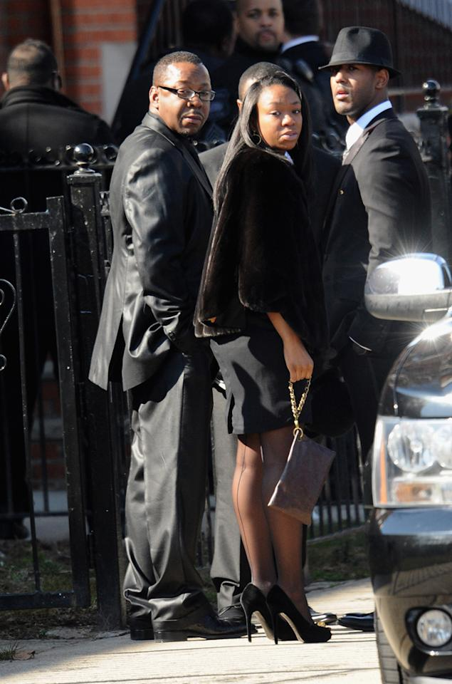 Whitney's ex-husband Bobby Brown came to pay his last respects, but left 10 minutes into the service because of the way security treated him and his family. (2/18/2012)