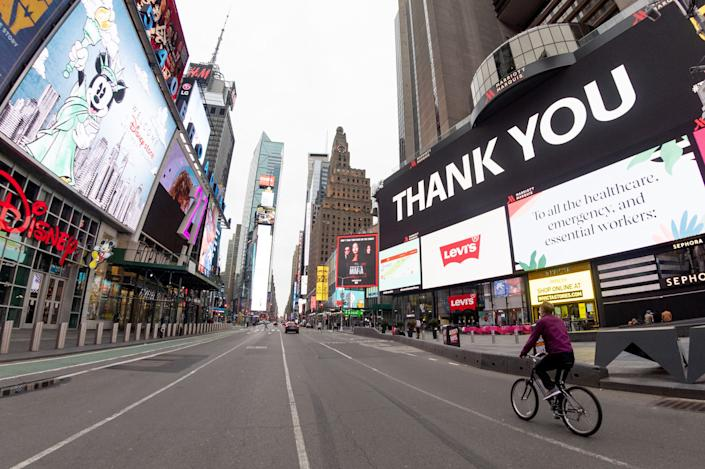An empty 7th Avenue in Times Square on April 19, 2020, in New York City.