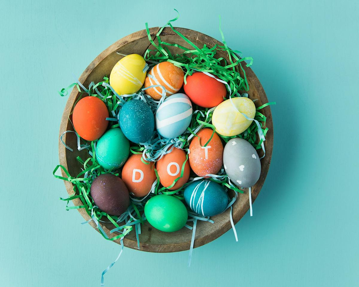 "<p>Dyeing <a rel=""nofollow"" href=""http://www.countryliving.com/life/a26388851/history-of-easter-eggs/"">Easter eggs</a> is one of my favorite things to do with kids <a rel=""nofollow"" href=""http://www.countryliving.com/life/a26294776/when-is-lent/"">during the Easter season</a>. We like to color them a few days before, and then display them <a rel=""nofollow"" href=""https://www.countryliving.com/entertaining/g2256/easter-table-displays-0406/"">on the table</a> for <a rel=""nofollow"" href=""https://www.countryliving.com/food-drinks/g1642/easter-brunch-ideas/"">Easter brunch</a>. Below are my most helpful tips for dyeing your own, and some simple ideas for adding personalized patterns. </p><p>After you've achieved a vibrant base hue, you can customize with stickers, rubber bands, or tape, or <a rel=""nofollow"" href=""http://www.countryliving.com/diy-crafts/g26518694/egg-painting-techniques/"">add custom decorations with paint</a>. Though I prefer to <a rel=""nofollow"" href=""https://www.countryliving.com/food-drinks/a19142172/how-to-make-perfect-hard-boiled-eggs/"">hard boil</a> new eggs <a rel=""nofollow"" href=""http://www.countryliving.com/life/inspirational-stories/a26430267/how-is-easter-date-determined/"">every Easter</a>,  this technique will also work with blown-out eggs that can be displayed year after year as one of your <a rel=""nofollow"" href=""https://www.countryliving.com/entertaining/g16765061/easter-traditions/"">Easter traditions</a>. </p>"