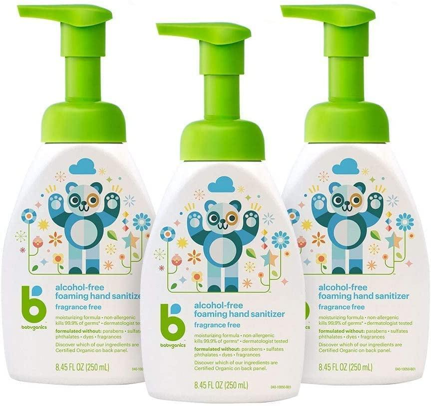 <p>The easy-to-use pump makes <span>Babyganics Alcohol-Free Foaming Hand Sanitizer</span> ($18 for three) perfect for tiny hands.</p>