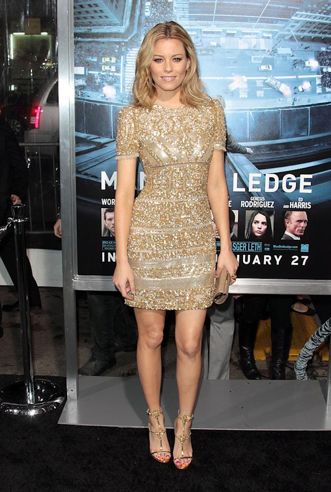 """Elizabeth Banks at the Los Angeles premiere of """"<a href=""""http://movies.yahoo.com/movie/man-on-a-ledge/"""">Man on a Ledge</a>"""" on January 23, 2012."""